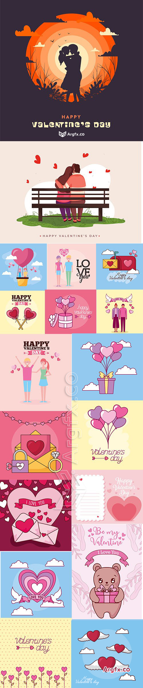 Vector Set of Romantic Valentines Day Illustrations Vol 9