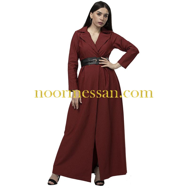 فستان كوكتيل مقلم طويل بحزام خصر  احمر