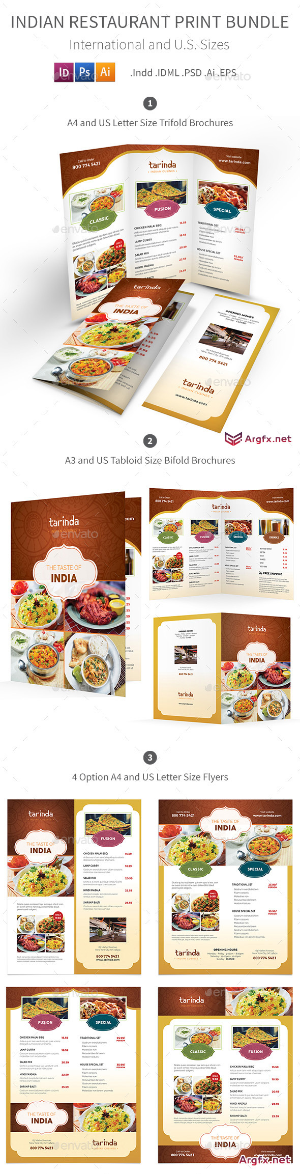 Indian Restaurant Menu Print Bundle - 19289137