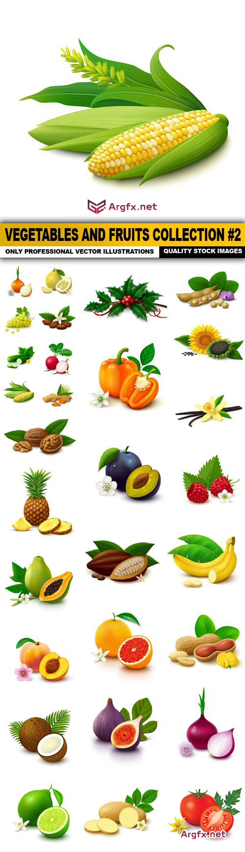 Vegetables And Fruits Collection #2 - 30 Vector
